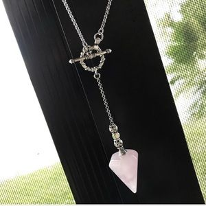 Genuine rose quartz pendulum lariat necklace